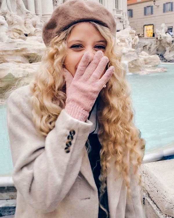 Alana in front of the Trevi Fountain in Rome