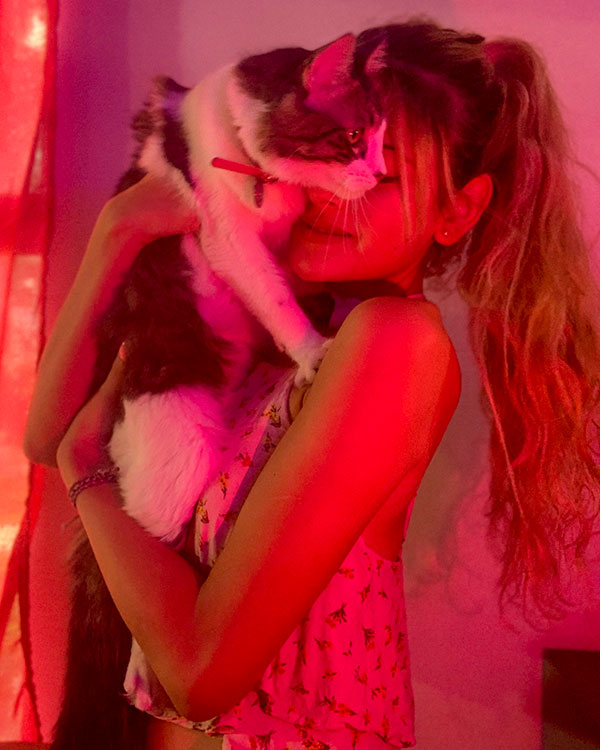 Alana with her cat